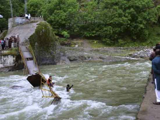 At least 25 tourists swept away when a bridge collapses in AJK Neelum Valley